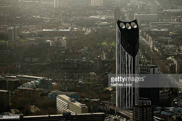 The view from The Shard looking South towards the Strata SE1 residential tower at Elephant and Castle on January 27 2014 in London England A study...