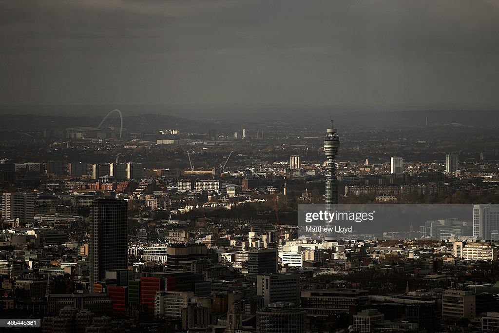 The view from The Shard looking west towards Wembley stadium and the BT tower on January 27, 2014 in London, England. A study has found that one in three 22-30 year olds are leaving their hometowns to move to the capital, which creates ten times as many private sector jobs as any other city.