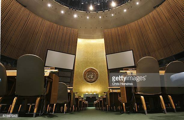 The United Nations logo on the back wall of the General Assembly Hall of the United Nations is seen from the floor May 12 2006 at the United Nations...