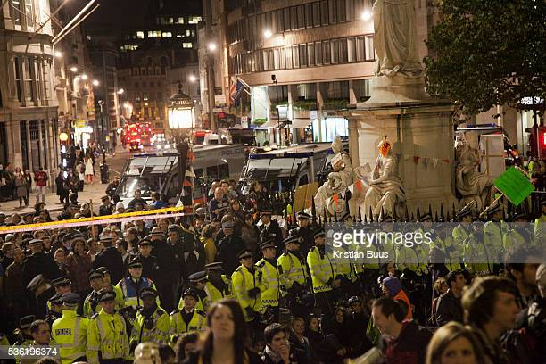 The view from the steps of the cathedral The London Stock Exchange was attempted occypied in solidarity with Occupy Wall in Street in New York and in...