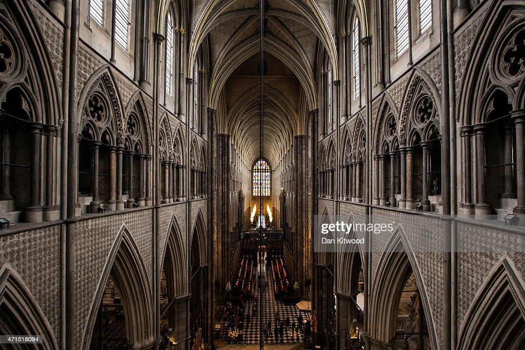 The view from the Triforium of the Great West Door at Westminster Abbey on April 29 2015 in London England Restoration work is currently underway to...