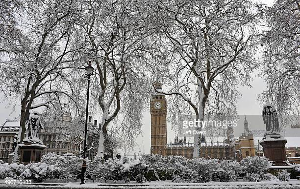 The view from the west side of Parliament Square Westminster London on the day the capital woke up to the heaviest snowfall for nearly twenty years...