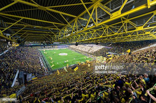 The view from up above the stadium prior to the Bundesliga match between Borussia Dortmund and SV Darmstadt 98 at Signal Iduna Park on September 27...