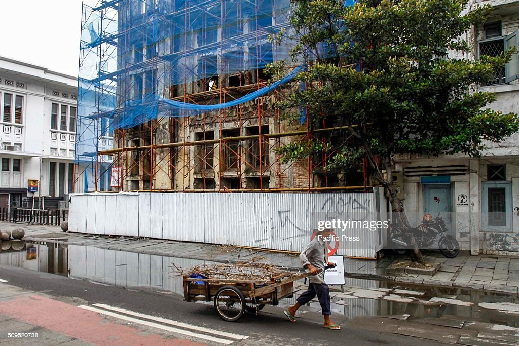 The view of a building under renovation in Kota Tua. Kota Tua is one of the tourist attractions in Jakarta that was registered into UNESCO world cultural heritage.