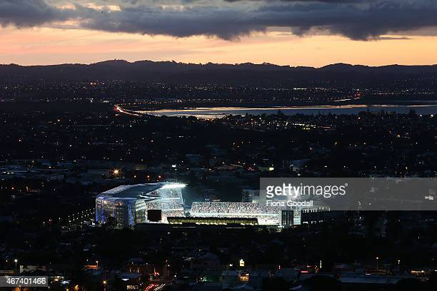 The view of Eden Park from Mt Eden during the Cricket World Cup 2015 semi final between New Zealand and South Africa at Eden Park on March 24 2015 in...