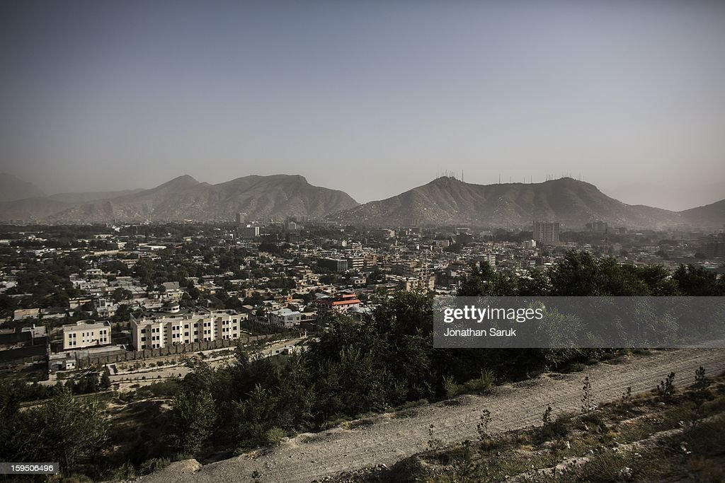The view of Kabul from the old Russian swimming pool in the Wazir Akhbar Kahn neighborhood of Kabul July 20, 2012 in Kabul, Afghanistan.