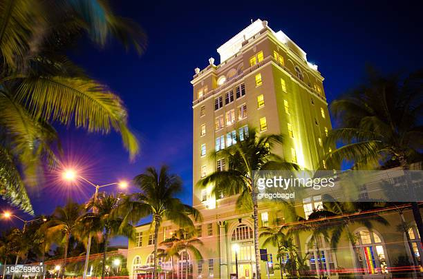 The view of Old City Hall in Miami Beach, Florida at night