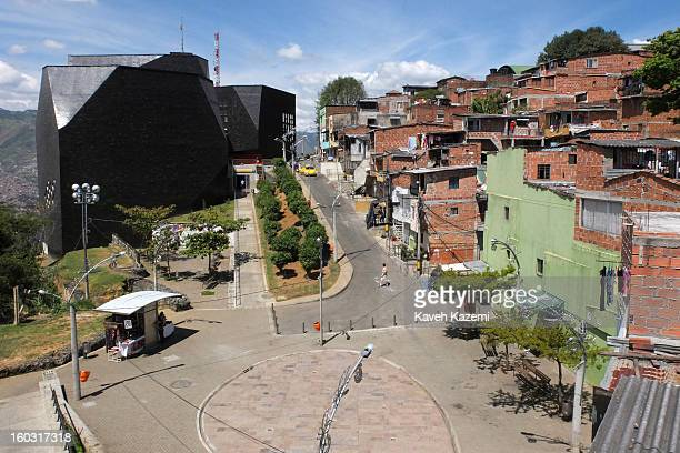 The view of Spain Library constructed for the cultural and social transformation of the city built on the hill in the midst of slums on January 5...