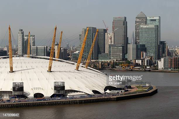 The view of the Isle of Dogs from the newly opened Emirates Air Line cable car as it operates between the O2 Arena in Greenwich and the ExCeL...