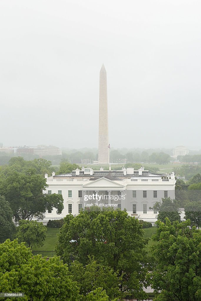 The view of the White House and Washington Monument at the 2016 Thomson Reuters Correspondents' Brunch at the Hay-Adams Hotel on May 01, 2016 in Washington, DC.