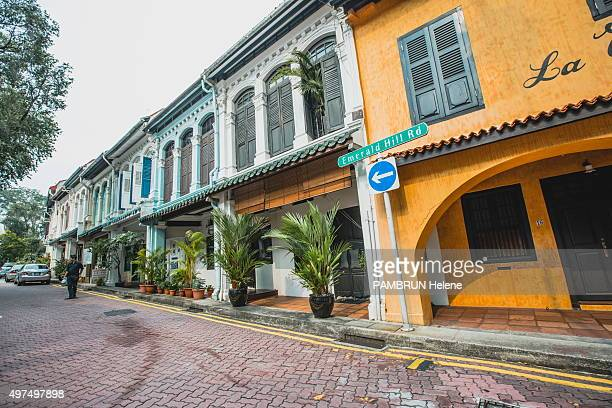 the view of the wooden houses with colonial architecture on Emerald Hill Rd are photographed for Paris Match on october 13 2015 in Singapore