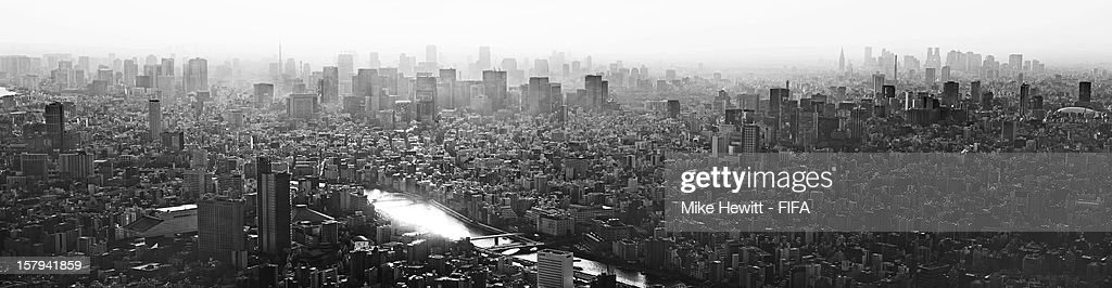 The view of Tokyo from the Tokyo SkyTree Tower ahead of the FIFA Club World Cup in Tokyo on December 8, 2012 in Yokohama, Japan.