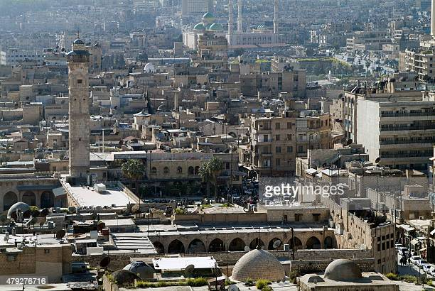 The view over Aleppo from the citadel a large medieval fortified palace before the civil war It is built on top of a manmade earthen mound and the...