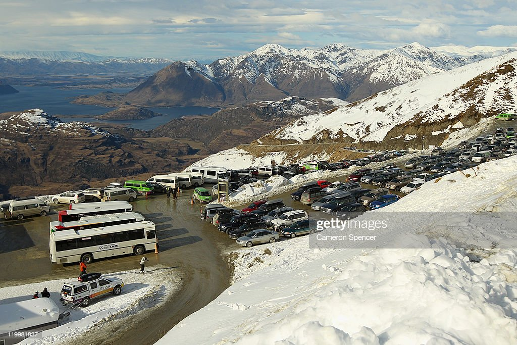 The view overlooking Lake Wanaka from Treble Cone ski resort on July 28, 2011 in Wanaka, New Zealand.