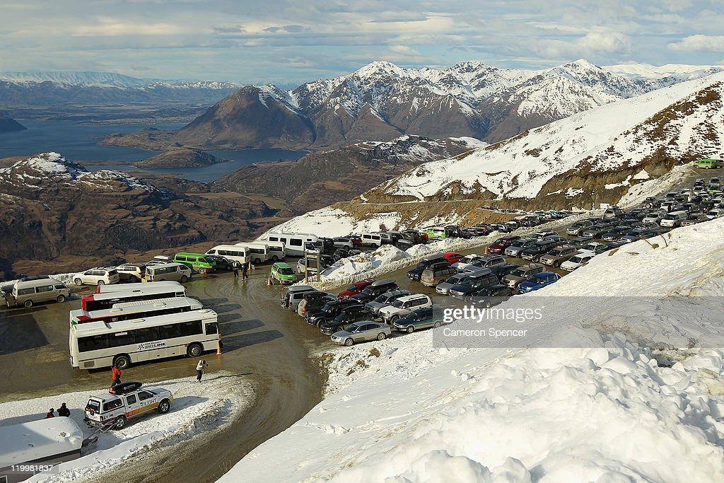 The view overlooking Lake Wanaka from Treble Cone ski resort on July 28, 2011 in Wanaka, New Zealand.
