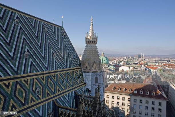 The view overlooking Vienna from the bell tower of Stephansdom in Stephansplatz in Vienna Austria