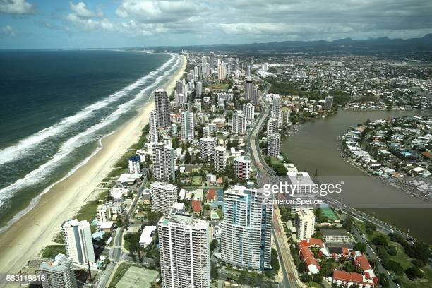 The view south of Broadbeach seen from Q1 during the 2018 Commonwealth Games One Year To Go 'World Press Briefing' venue tour on April 6 2017 in Gold...