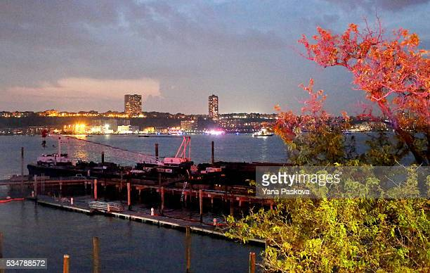 The view toward New Jersey's Edgewater Marina from the 79th St Boat Basin of the Hudson River into which a vintage World War II plane crashed killing...