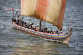 The viking longship Sea Stallion of Glendalough sails through the Limfjorden in Northern Jutland on August 3 2008 after its journey across the North...