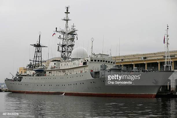 The Viktor Leonov CCB175 a Russian Navy intelligence warship is docked to a pier in Old Havana January 20 2015 in Havana Cuba The ship sailed into...