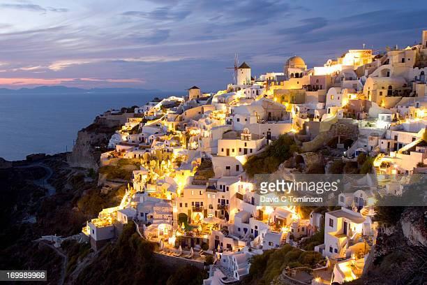 The village illuminated by night, Oia, Santorini