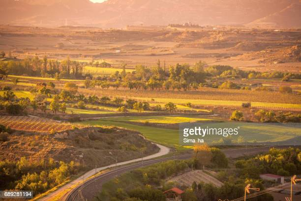 The village of Briones and fields.  Rioja Alta, Spain