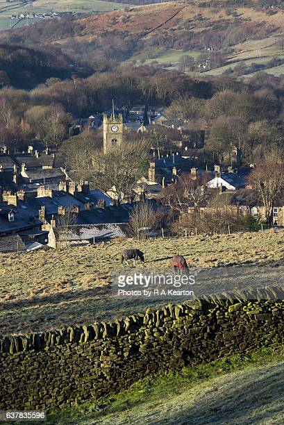 The village of Hayfield on a winter morning