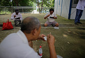 The villagers having lunch in primary school on July 14 2016 in Wuhan Hubei Province China Armed police destroyed the 37kilometerlong embankment...