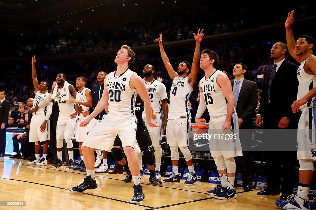 The Villanova Wildcats bench reacts after a shot by Patrick Farrell #20 of the Villanova Wildcats against the Xavier Musketeers during the championship game of the Big East basketball tournament at Madison Square Garden on March 14, 2015 in New York City.