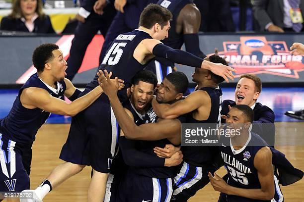 The Villanova Wildcats celebrate defeating the North Carolina Tar Heels 7774 to win the 2016 NCAA Men's Final Four National Championship game at NRG...