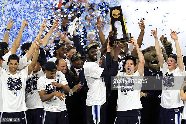 The Villanova Wildcats celebrates after defeating the North Carolina Tar Heels 7774 in the 2016 NCAA Men's Final Four National Championship game at...