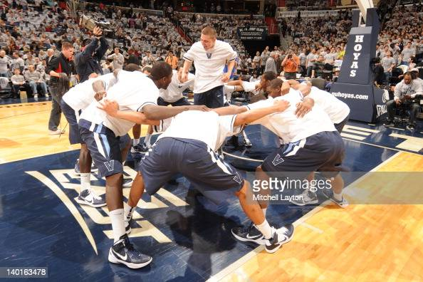 The Villanova WIldcats huddle before a college basketball game against the Georgetown Hoyas on February 25 2012 at the Verizon Center in Washington...