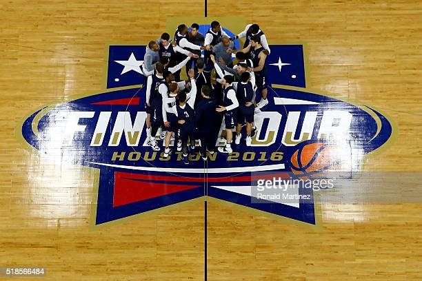 The Villanova Wildcats huddle during a practice session for the 2016 NCAA Men's Final Four at NRG Stadium on April 1 2016 in Houston Texas