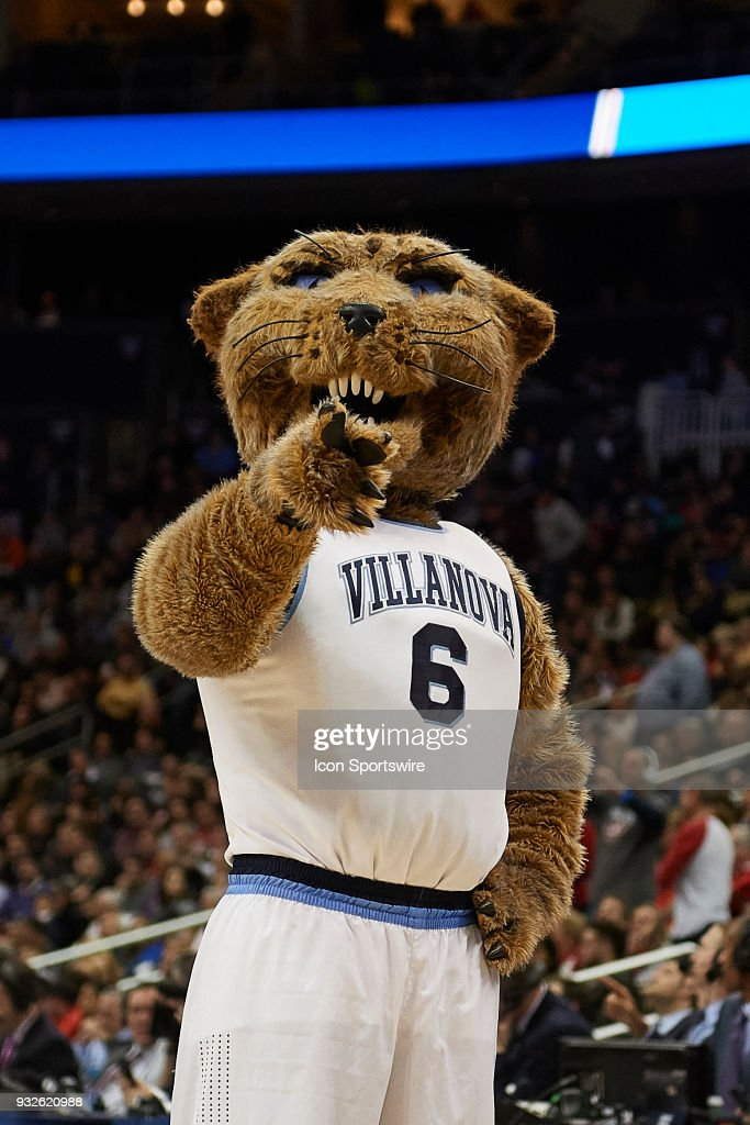 The Villanova Wildcats mascot Will D. Cat during the second half of the first round of the NCAA Division I Men's Championships between the Villanova Wildcats and the Radford Highlanders at PPG Paints Arena in Pittsburgh, PA on March 15, 2018.