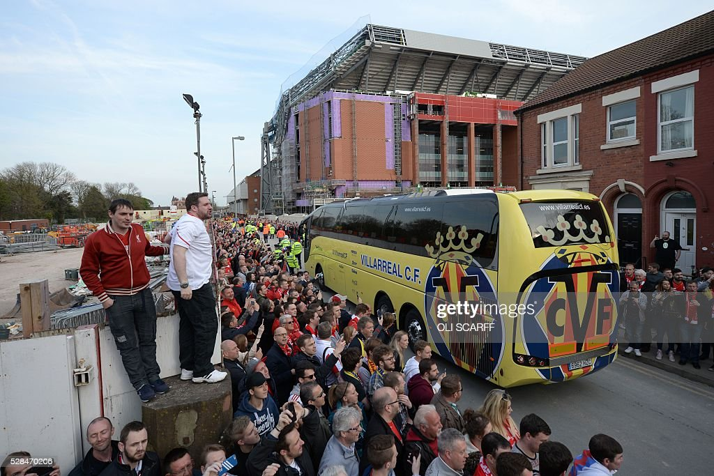 The Villareal team bus arrives ahead of the start of the UEFA Europa League semi-final second leg football match between Liverpool and Villarreal CF at Anfield in Liverpool, northwest England on May 5, 2016. / AFP / OLI
