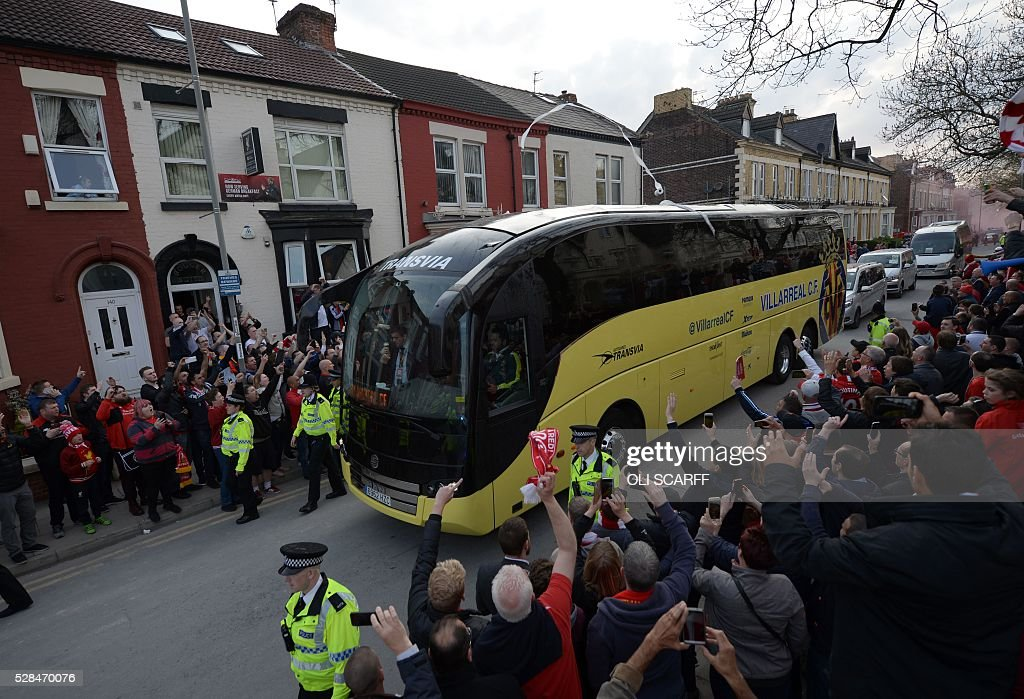 The Villarreal team bus arrives ahead of the start of the UEFA Europa League semi-final second leg football match between Liverpool and Villarreal CF at Anfield in Liverpool, northwest England on May 5, 2016. / AFP / OLI