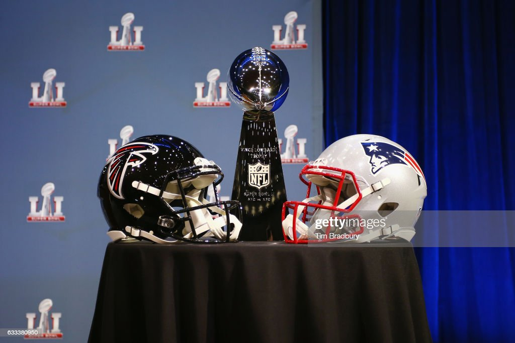 The Vince Lombardi Trophy is seen prior to a press conference held by NFL Commissioner Roger Goodell (not pictured) at the George R. Brown Convention Center on February 1, 2017 in Houston, Texas.
