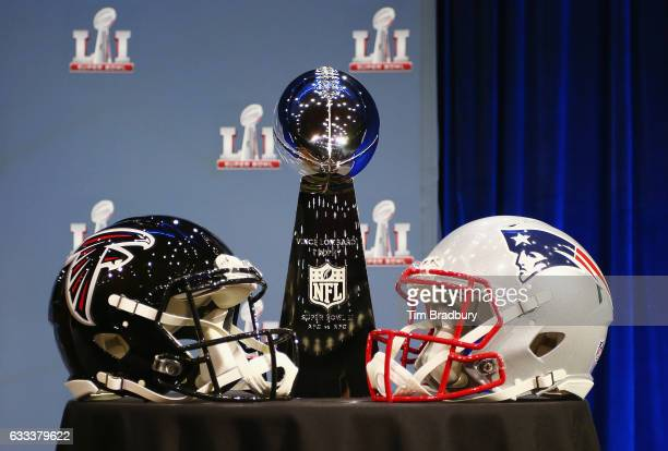 The Vince Lombardi Trophy is seen prior to a press conference with NFL Commissioner Roger Goodell at the George R Brown Convention Center on February...