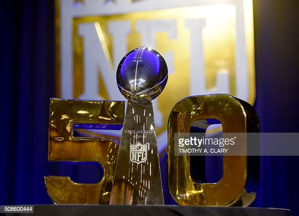 The Vince Lombardi Trophy sits on the table before the start of NFL Super Bowl 50 press conference February 5 2016 at the Moscone Convention Center...