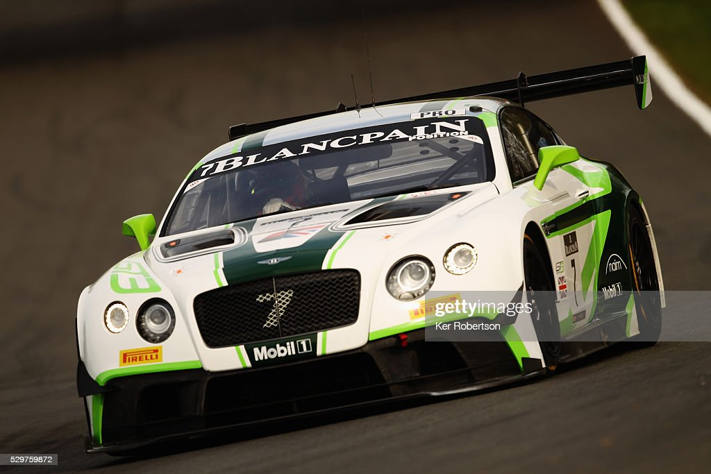 The Vincent Abril and Steven Kane Bentley Team MSport Bentley Continental GT3 drives during practice for the Blancpain GT Series Sprint Cup at Brands...