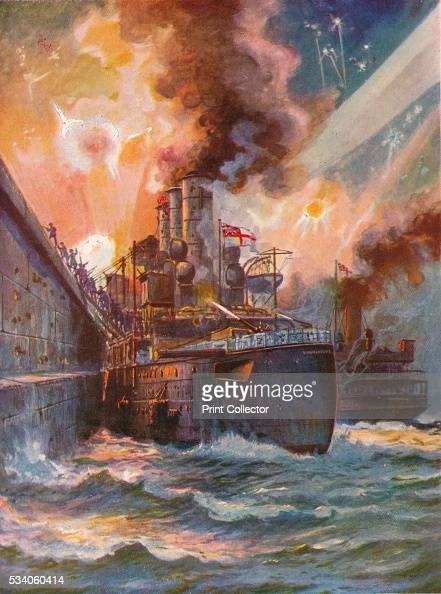 The Vindictive at Zeebrugge' from 'The Wonder Book of the Navy for Boys and Girls' by Harry Golding' 1919 HMS 'Vindictive' was a British...