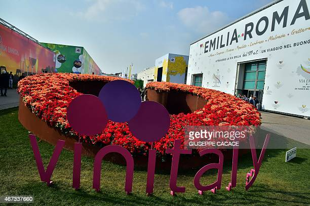 The Vinitaly logo is displayed on March 23 2015 at the Vinitaly exposition in Verona AFP PHOTO / GIUSEPPE CACACE