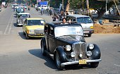 The vintage cars parade during a rally organized by Rotary Club in Allahabad