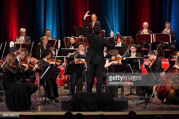 the violonist and director artistic of the Alma Chamber Orchestra Anne Gravoin with Lionel Bringuier chief of orchestra and the musicians at the...