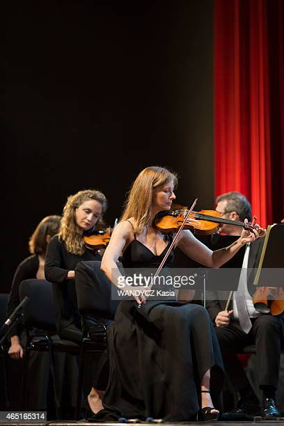 the violonist and director artistic of the Alma Chamber Orchestra Anne Gravoin and the musicians at the theater MohammedV on february 19 2015 in...