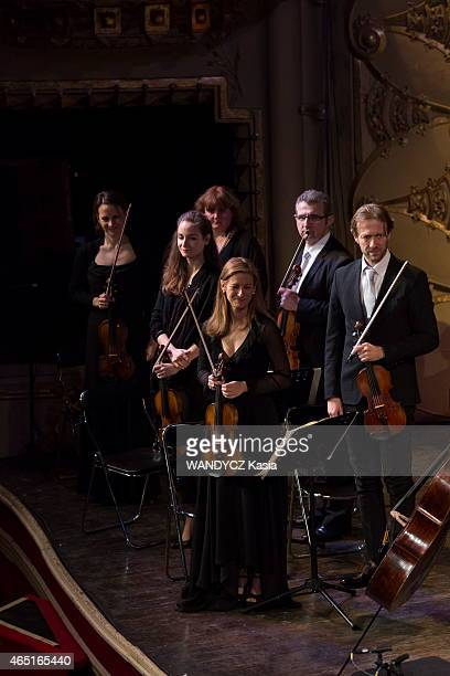 the violonist and director artistic of the Alma Chamber Orchestra Anne Gravoin with Lionel Bringuier chief of orchestra and the violonist musicians...