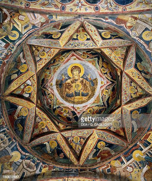 The Virgin and Child the apostles and the Evangelists fresco in the vault of the first chapel of the Moldovita Monastery Romania