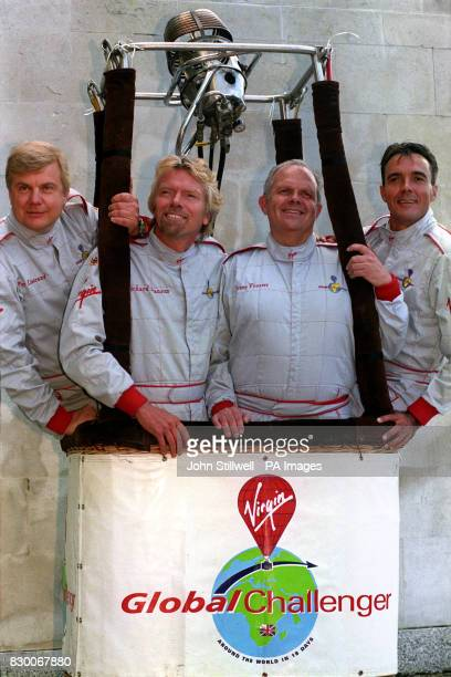The Virgin Global Challenger team Per Lindstrand Virgin boss Richard Branson Steve Fossett and Dave Jackson during today's news conference at the...