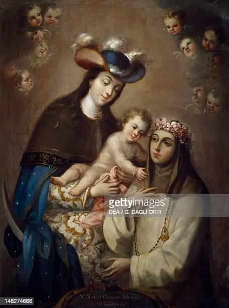 The Virgin of Carmen of Guatemala and Santa Rosa of Lima by Jose de Ibarra Mexico City Pinacoteca Virreinal De San Diego