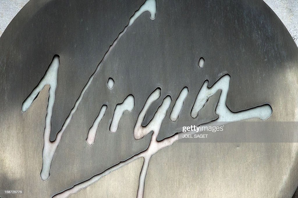 The Virgin store name is pictured above the facade of a shop, on December 26, 2012 in Paris.